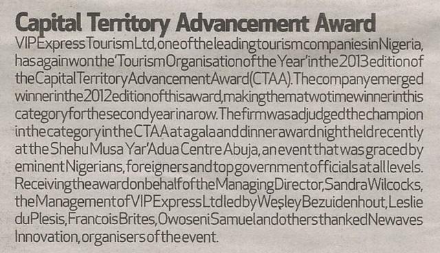 Capital Territory Advancement Award